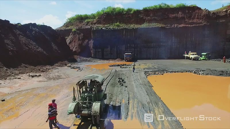 Open pit stone mine in Juja Kiambu Kenya Drone Video