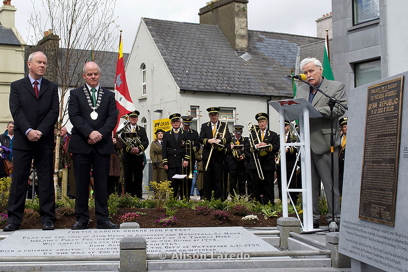 Mayo County Council Director of Services, Paddy Mahon, Cllr Blackie Gavin and John Mee at the 1916 Commemoration, Castlebar PHOTO: ALISON LAREDO
