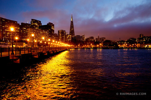 PIER 7 AT NIGHT SAN FRANCISCO SKYLINE