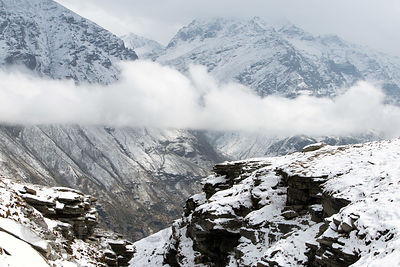 Imposing snowy 18,000 foot peaks in the Par Panjal Range, from Rohtang Pass, Manali, India