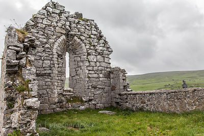 Gravestones and church, The Burren, Ireland