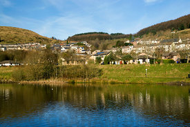 lake cwm clydach, clydach vale, rhondda valley, south wales, uk.