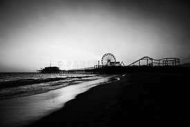 Santa Monica Pier Black and White Photography