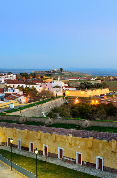 The city of Elvas and his 17th century fortifications at dusk, the biggest city bulwark fortifications in the world. A UNESCO World Heritage Site. Alentejo, Portugal