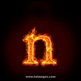 fire alphabets, small letter n