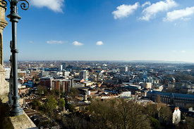 Bristol skyline from the top of the Cabot Tower, Brandon Hill, Bristol.