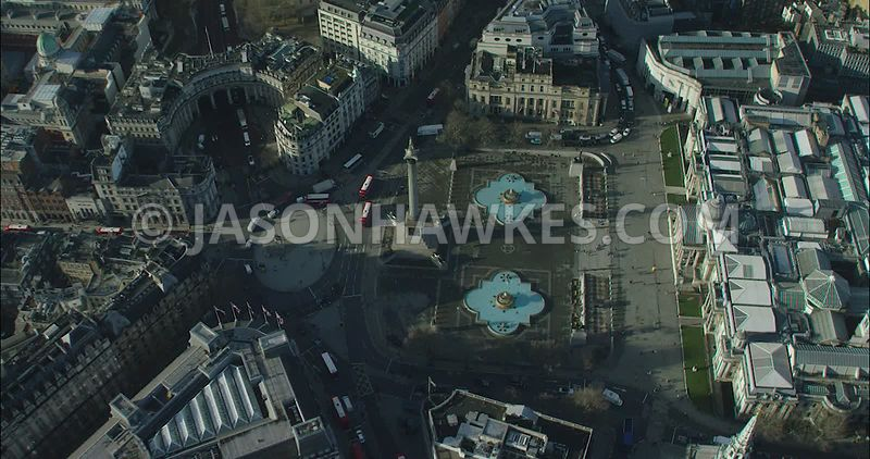 London Aerial footage, Trafalgar Square towards St James's.