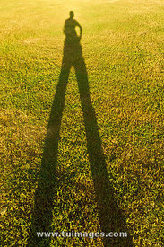 long shadow of man on grass field