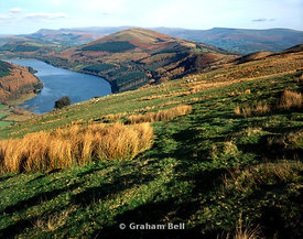 talybont reservoir from bryniau gleision, with the blackmountains in the distance, brecon beacons national park, powys.