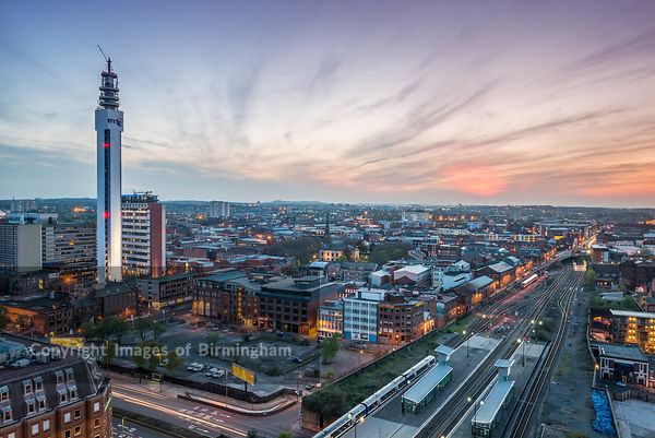 Aerial of the Jewellery Quarter at sunset, Birmingham