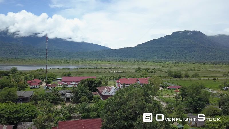 Aerial view of Village Champassak on Mekong, filmed by drone, Laos