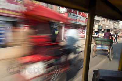 Motion blur from a moving rickshaw in Delhi, India