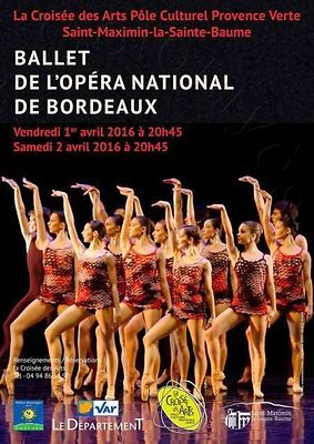 Affiche Ballet de l'Opéra National de Bordeaux en tournée, avril 2016