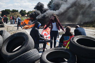 CGT workers block the fuel depot of Fos-sur-Mer south France