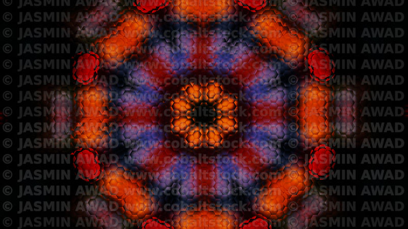 Abstract_lights_hexagon_background_red_orange_purple