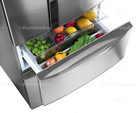 Refrigerator drawer with vegetables.