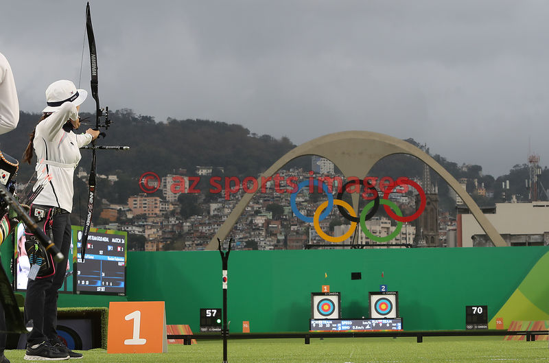 Brazil, Rio, August 7. Archery - Sambódromo..CHANG Hyejin, CHOI Misun, and KI Bobae wins the Gold Medal for Republic of Korea at the Women's Team Final. Photos azsportsimages | Pentapress