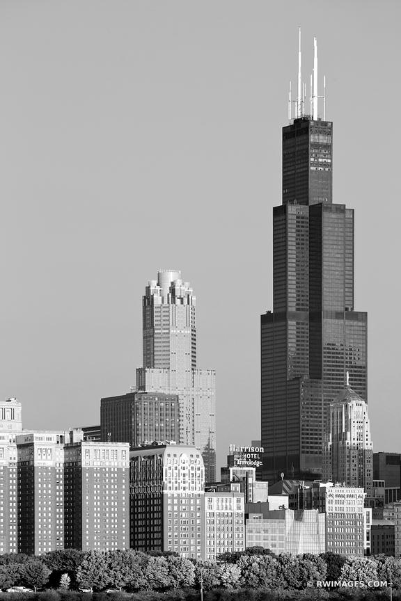 WILLIS TOWER CHICAGO SEARS TOWER CHICAGO DOWNTOWN BLACK AND WHITE