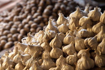 Garlic for sale at a market in Bundi, Rajasthan, India