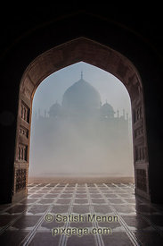 Taj Mahal, as seen from adjoining mosque, Agra, India