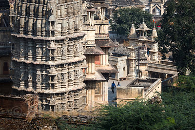 Temple in the town of Amber, as seen from Amber Fort, near Jaipur, Rajasthan, India