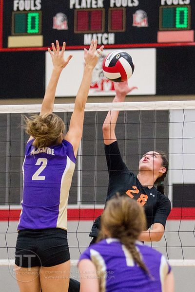 Solon's Vik Meade (28) volleys over Muscatine's Kaylie Miller (2) at the 2012 Linn-Mar Varsity Volleyball Tourney Saturday, September 8, 2012. (Justin Torner/Freelance)