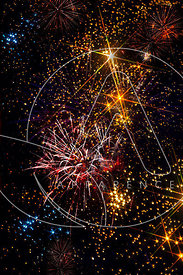 feu artifice 14 juillet multicolore