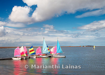 Coloured dinghies on West Kirby Marine Lake
