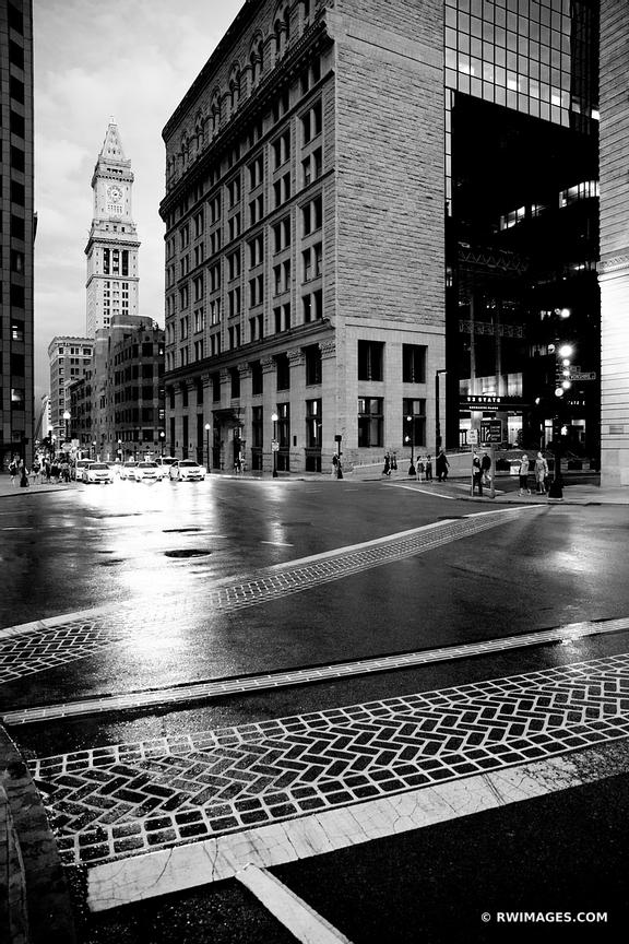 DOWNTOWN BOSTON EVENING BLACK AND WHITE VERTICAL