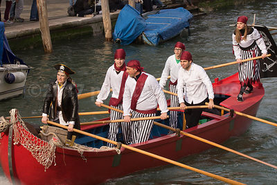 'Pirate' boat in the Venice Carnival Water Parade on the Rio di Cannaregio Canal