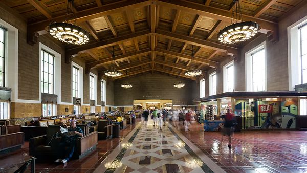 Medium Shot: Passing Through Union Station's Central Hall