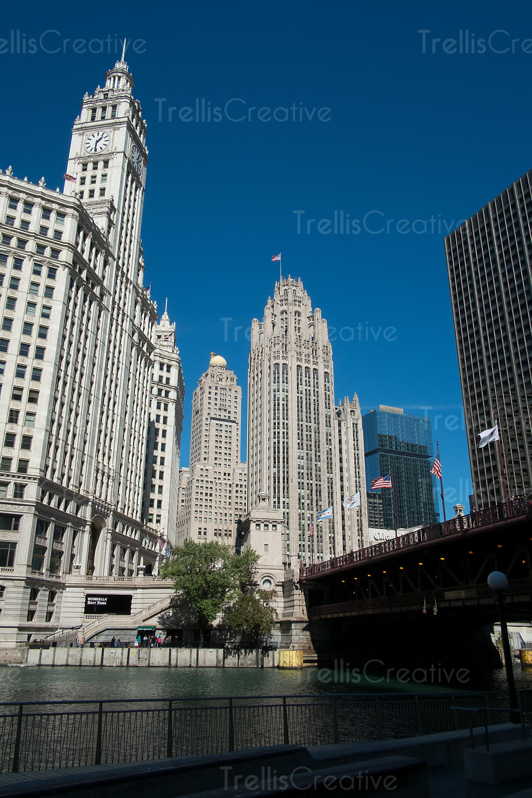 The Wrigley Building and Tribune Tower at riverbank