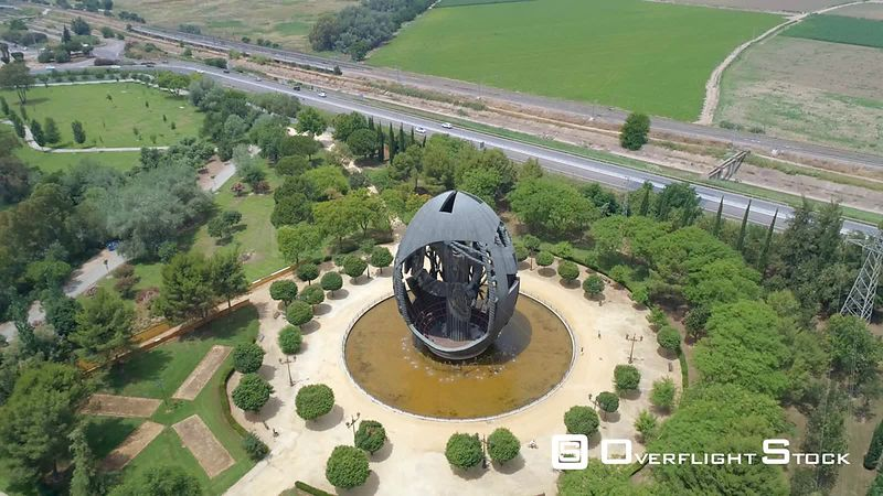 Aerial Footage of Birth of New Man Statue Seville Spain