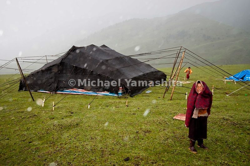 Traditional black yak-hair tents have sheltered Nomad families for centuries from the harsh and unpredictable weather of the Tibetan Plateau.