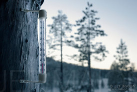 Thermometer by freezing weather