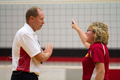 Marion coach Roxanne Paulsen argues an official's call versus Cedar Rapids Prairie at the 2012 Linn-Mar Varsity Volleyball Tourney Saturday, September 8, 2012. (Justin Torner/Freelance)