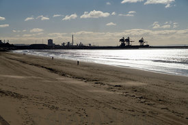 Port Talbot Docks from Aberafon Beach, Port Talbot, South Wales.