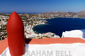 View of Panteli from Profitis Ilyas Church, Leros, Dodecanese Islands, Greece.