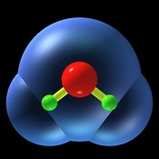 Water molecule ball and stick ortho b