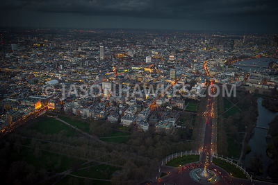 Aerial view of London, St James's with The Mall towards The Strand at night.