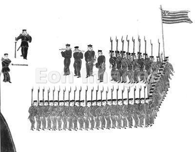 Japanese scroll depicting Marines in formation