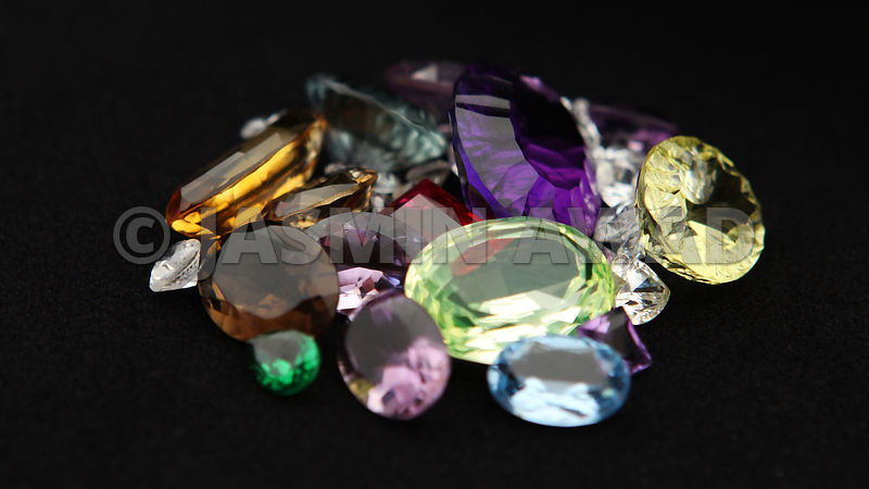 Gemstones on black background