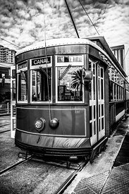 New Orleans Streetcar Black and White Picture