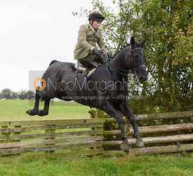 Bruce McKim jumping a hunt jump at Thorpe Satchville - Quorn Hunt Opening Meet 2016