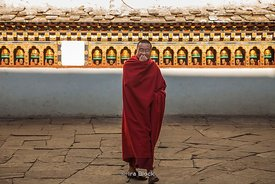 Monk at Rinpung Dzong, a large Drukpa Kagyu Buddhist monastery in Paro District in Bhutan.
