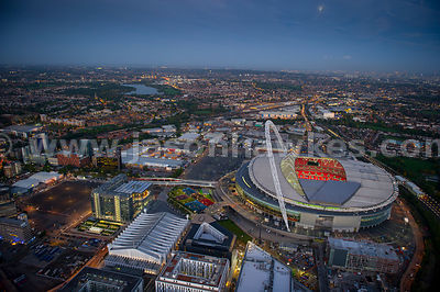 Aerial view of Wembley Stadium at dusk, London