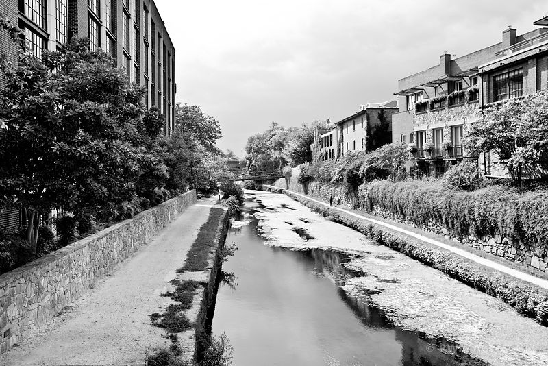 GEORGETOWN CANAL WASHINGTON DC BLACK AND WHITE
