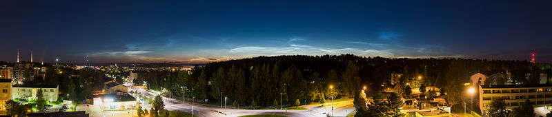 Noctilucent Clouds above the city of Lahti, Finland, on 8.8.2016.