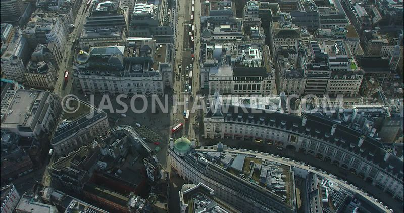 London Aerial footage, of Piccadilly Circus with Regent Street