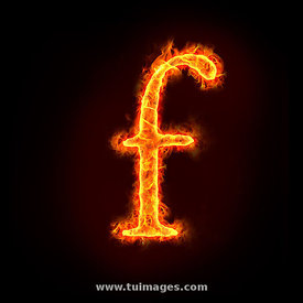 fire alphabets, small letter f